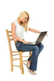 Hot Looking Girl On A Laptop Computer